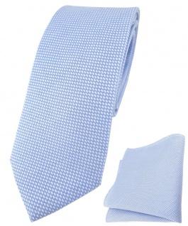schmale TigerTie Krawatte Pique + Einstecktuch aus Baumwolle in hellblau-weiss