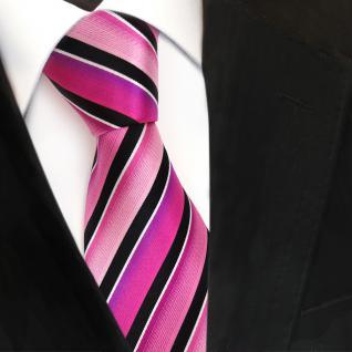 TigerTie Designer Seidenkrawatte magenta rosa pink schwarz silber gestreift
