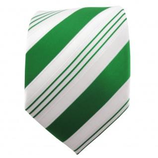 TigerTie Satin Krawatte grün smaragdgrün weiß silber gestreift - Binder Schlips - Vorschau 2