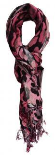 TigerTie Schal in rosa schwarz silber - Glitzerfäden eingezogen - 180 x 70 cm