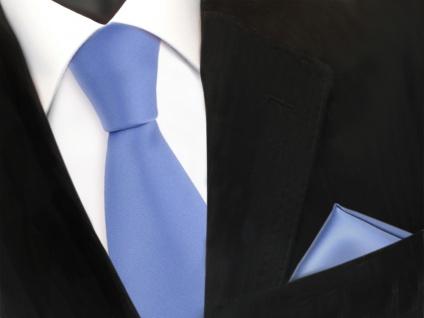 schöne TigerTie Krawatte + Einstecktuch blau hellblau uni - Binder Tie Polyester