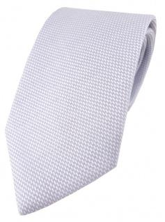 TigerTie Designer Krawatte Pique in hellgrau-weiß gemustert - 100% Baumwolle