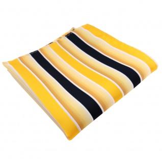 TigerTie Einstecktuch gelb knallgelb dunkelblau weiß gestreift - 100% Polyester