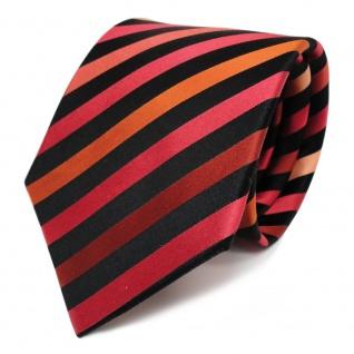 TigerTie Designer Seidenkrawatte pastellorange blutorange schwarz gestreift