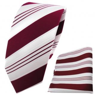 schmale TigerTie Krawatte + Einstecktuch in rot purpurrot weiß silber gestreift