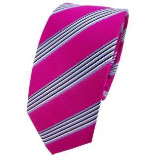 Schmale TigerTie Krawatte pink blau schwarz weiß gestreift - Binder Tie