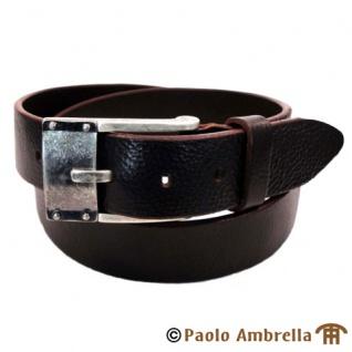 Ledergürtel dunkelbraun - Herren Leder Gürtel kürzbar Bundweite 110 cm
