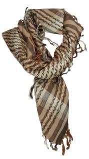 TigerTie Halstuch braun beige schwarz gemustert mit Fransen - Gr. 100 x 100 cm - Vorschau