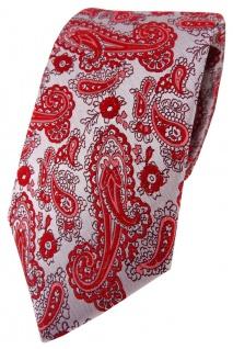 TigerTie Designer Krawatte in rot silber Paisley gemustert