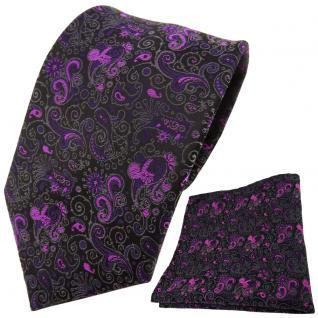 schöne TigerTie Krawatte + Einstecktuch lila magenta schwarz gemustert Paisley