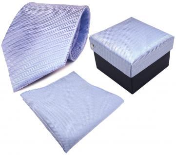 3er Set TigerTie Krawatte + Einstecktuch + Geschenkbox hellblau blau gestreift