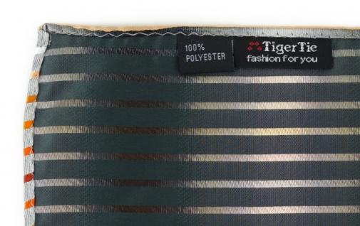 TigerTie Einstecktuch orange lachs rotbraun weiss silbergrau schwarz gestreift - Vorschau 3