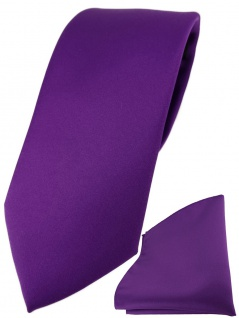 TigerTie Designer Krawatte + TigerTie Einstecktuch in lila einfarbig uni