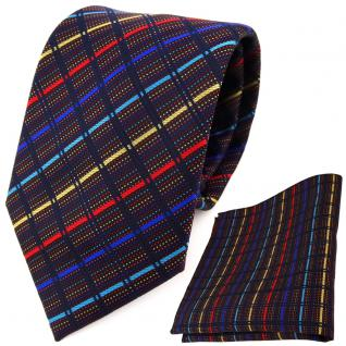 TigerTie Designer Krawatte + Einstecktuch gold rot blau türkis schwarz gestreift