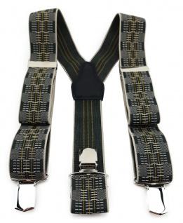 TigerTie Unisex Hosenträger 3 extra starken Clips- gelb silber schwarz gemustert