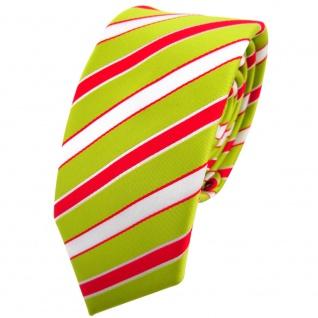 Schmale TigerTie Krawatte grün hellgrün rot weiß gestreift - Binder Tie