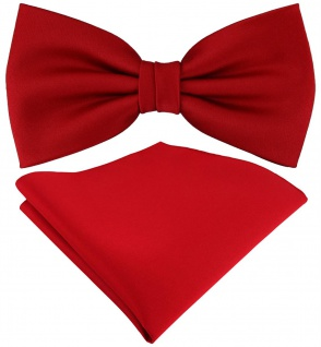 TigerTie Satin Fliege + TigerTie Einstecktuch in rot Uni Einfarbig + Box