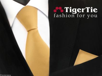 schöne TigerTie Satin Krawatte + Einstecktuch in gold Uni - Tie Binder