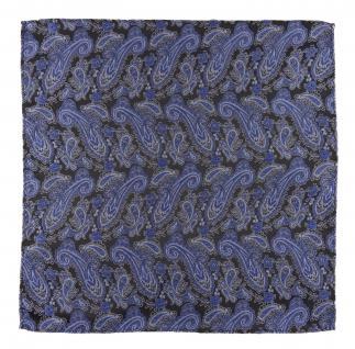 TigerTie Designer Einstecktuch in blau schwarz silber Paisley - Gr. 30 x 30 cm - Vorschau 2