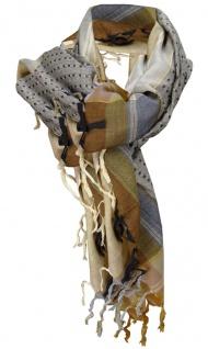 Halstuch in braun beige gold grau gemustert mit Fransen - Glitzerfaden eingewebt