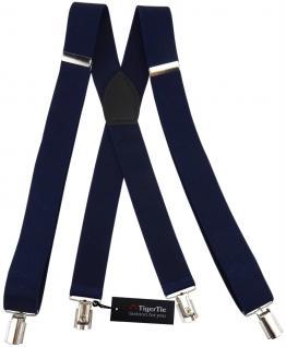 breiter TigerTie Herren Hosenträger mit 4 Clips in X-Form - Farbe dunkelblau