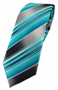 schmale TigerTie Designer Krawatte in türkis silber anthrazit grau gestreift