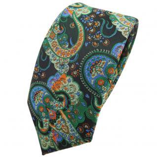 Schmale TigerTie Krawatte grün dunkelgrün orange blau Paisley - Binder Tie