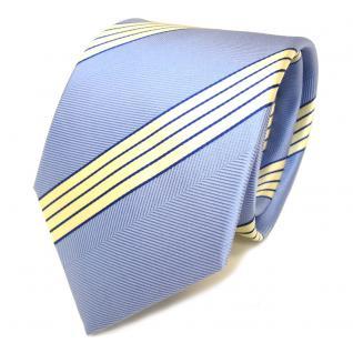 Schicke Seidenkrawatte blau hellblau creme gestreift - Krawatte Seide