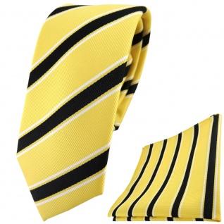 schmale Designer TigerTie Krawatte + Einstecktuch gelb schwarz weiß gestreift