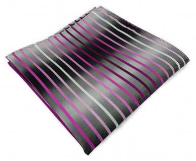 TigerTie Einstecktuch in rosa magenta pink weiss silbergrau schwarz gestreift