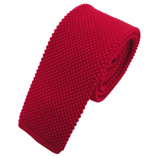 TigerTie - schmale Strickkrawatte rot verkehrsrot einfarbig uni