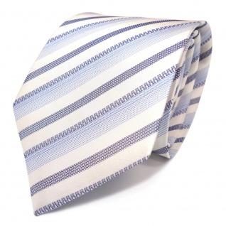 Mexx Seidenkrawatte in blau weiss grau gestreift - Tie Krawatte 100% Seide