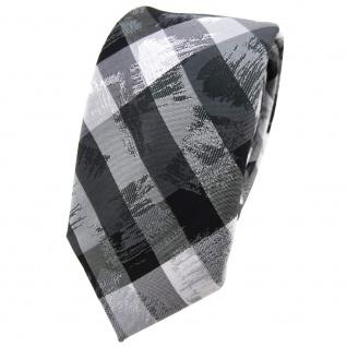 Schmale TigerTie Krawatte in grau silber schwarz gestreift - Schlips Binder