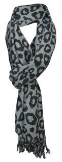 Schal in olivegrau schwarz Leopardenfell gemustert mit Fransen - Gr. 180 x 50 cm
