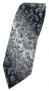 schmale TigerTie Designer Krawatte in grau grausilber geblümt gemustert