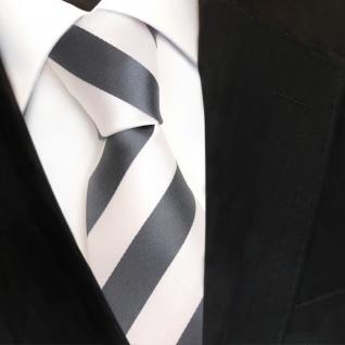 TigerTie Designer Krawatte - Schlips Binder grau silber weiss gestreift - Tie
