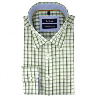 Ben Green Herrenhemd grün weiß kariert langarm bügelleicht - Hemd Gr.43/44 XL - Vorschau 1