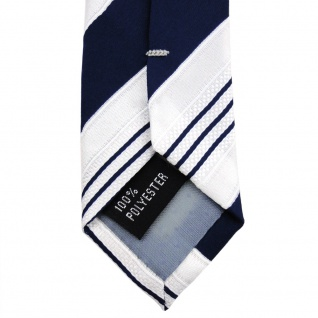 TigerTie Satin Krawatte blau dunkelblau weiß silber gestreift - Binder Schlips - Vorschau 4