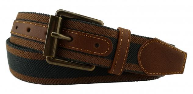 TigerTie - Stretchgürtel in braun nussbraun schwarz gestreift - Bundweite 100 cm