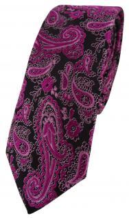 schmale TigerTie Designer Krawatte in magenta schwarz silber Paisley gemustert