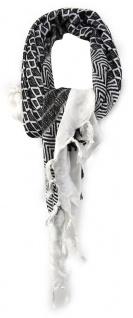 TigerTie Halstuch in schwarz grau weiss gemustert - Gr. 120 x 120 cm