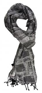 TigerTie Schal in silber grau schwarz gemustert mit Fransen - Größe 190 x 70 cm
