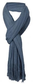 TigerTie Schal in taubenblau einfarbig mit Fransen - Schalgröße 170 x 35 cm
