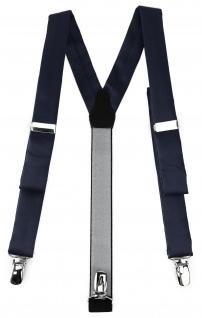 schmaler TigerTie Unisex Hosenträger mit 3 extra starken Clips - schwarzblau Uni