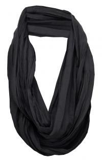 TigerTie Loop Schal in schwarz einfarbig Uni - Schlauchschal Rundschal