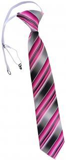 TigerTie Kinderkrawatte rosa pink anthrazit silber grau gestreift - mit Gummizug