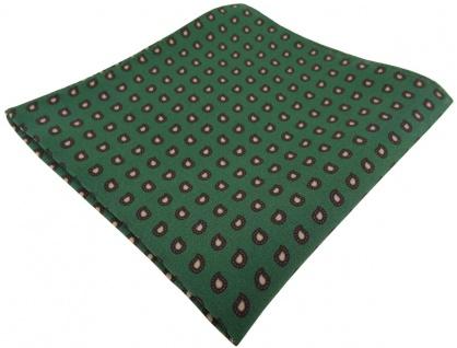 TigerTie Seideneinstecktuch in dunkelgrün dunkelbraun - kleines Paisley Muster
