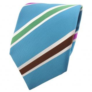 TigerTie Satin Krawatte blau grün braun magenta weiß gestreift - Binder Tie