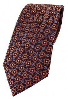 TigerTie Designer Krawatte in orange blau silber schwarz gemustert