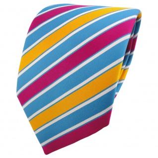 TigerTie Krawatte blau gelb gelborange magenta weiß gestreift - Binder Tie